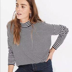 Madewell Stripe Mix Ashbury Mockneck Sweater